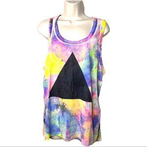 Chaser sleeveless multicolor tie dye tank M